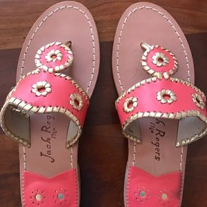 Pink & Gold Jack Rogers sandals, New, Size 8M